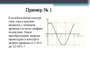 Пример № 1 В колебательном контуре сила тока в катушке меняется с течением вр