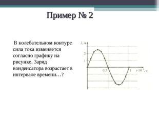 Пример № 2 В колебательном контуре сила тока изменяется согласно графику на р