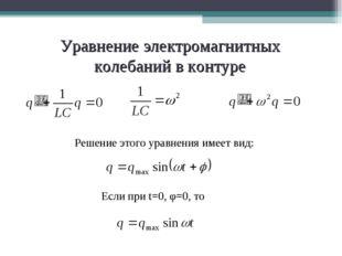 Уравнение электромагнитных колебаний в контуре Решение этого уравнения имеет