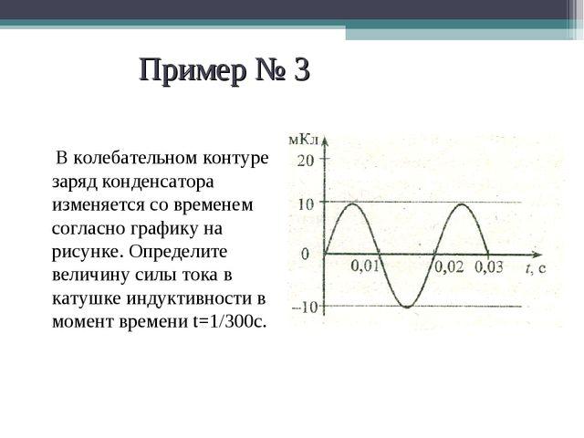 Пример № 3 В колебательном контуре заряд конденсатора изменяется со временем...
