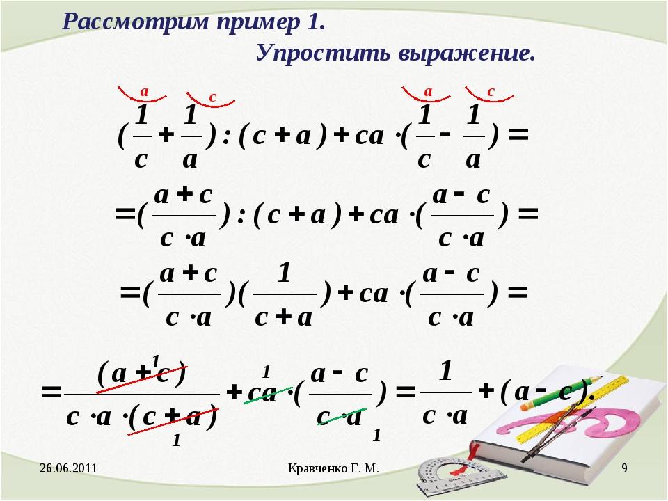 26.06.2011 Кравченко Г. М. * Рассмотрим пример 1. Упростить выражение. 1 1...