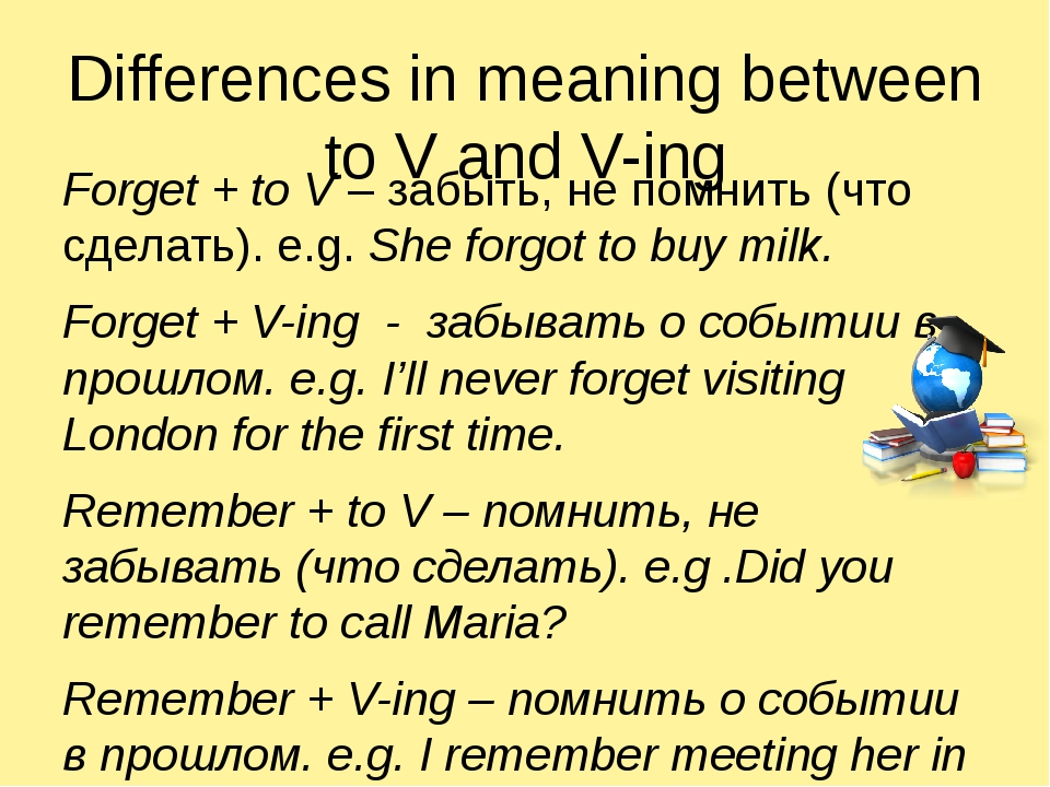 Differences in meaning between to V and V-ing Forget + to V – забыть, не помн...