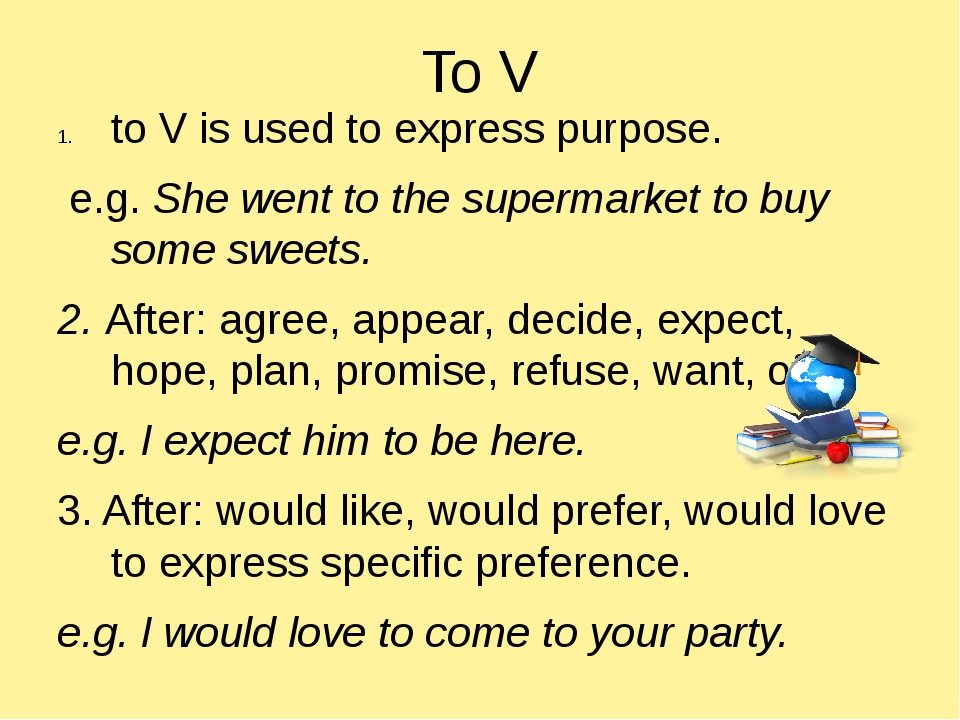 To V to V is used to express purpose. e.g. She went to the supermarket to buy...