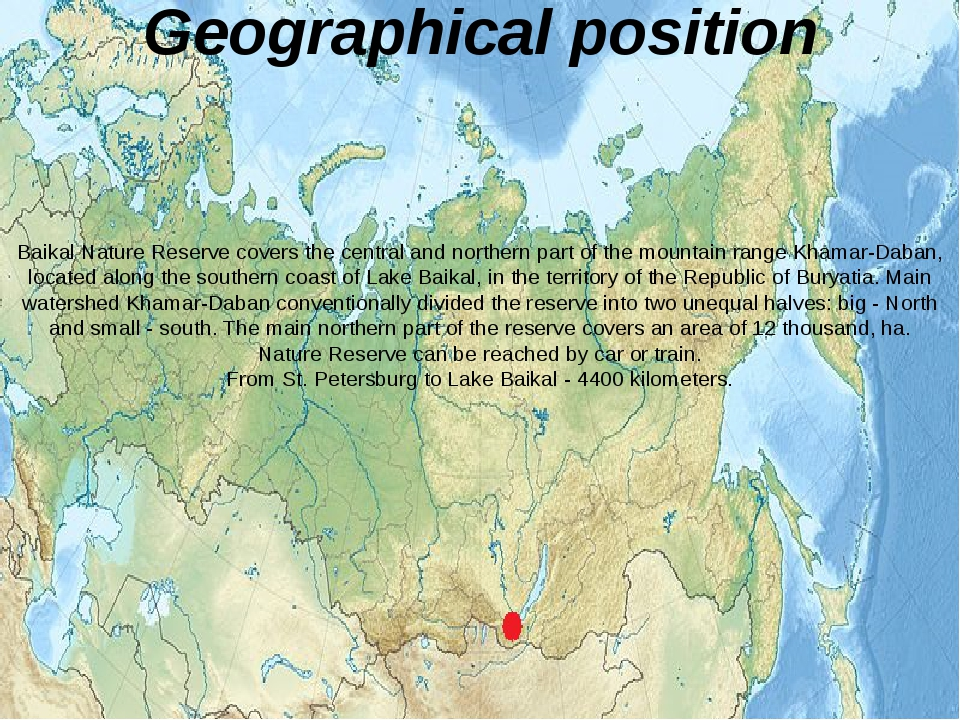 Geographical position Baikal Nature Reserve covers the central and northern p...