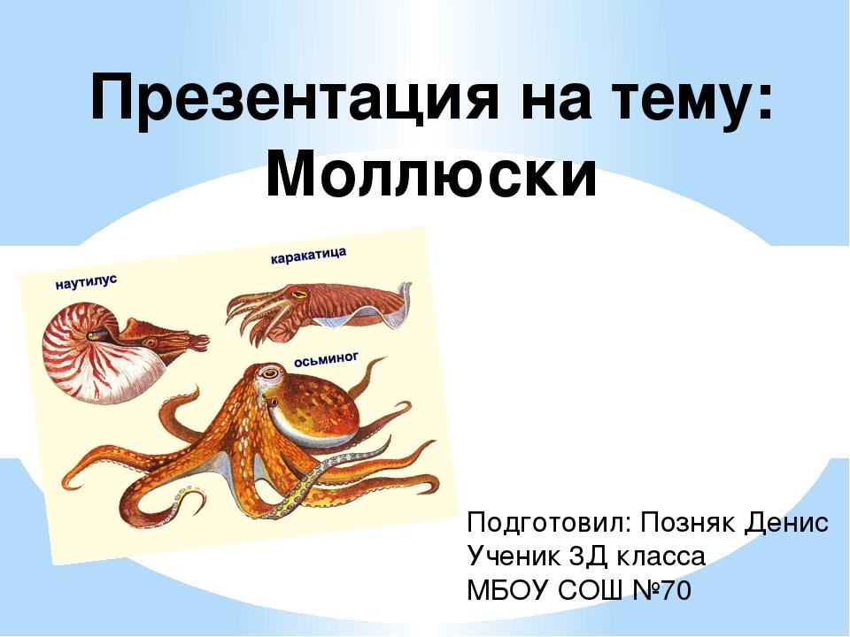 Презентация на тему: Моллюски Подготовил: Позняк Денис Ученик 3Д класса МБОУ...