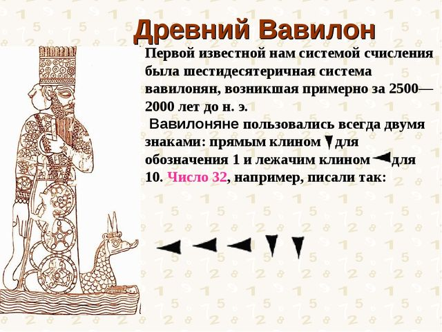 Древний Вавилон Первой известной нам системой счисления была шестидесятерична...