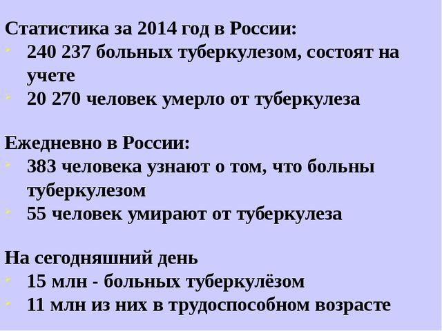 Статистика за 2014 год в России: 240 237 больных туберкулезом, состоят на уче...