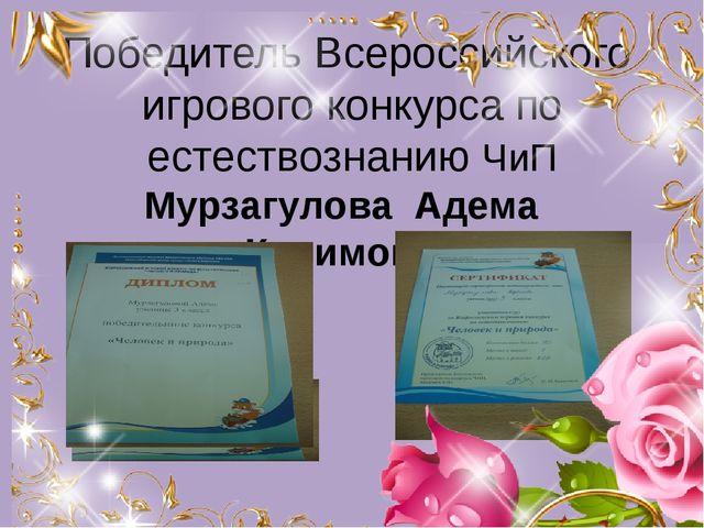 Победитель Всероссийского игрового конкурса по естествознанию ЧиП Мурзагулова...