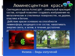 Люминесцентная краска Светящаяся краска AcmeLight – уникальный красящий соста