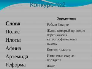 Конкурс №2 Слово Полис Илоты Афина Артемида Реформа комедия трагедия Определе