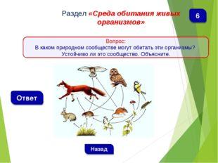 Раздел «Среда обитания живых организмов» Вопрос: В каком природном сообществе