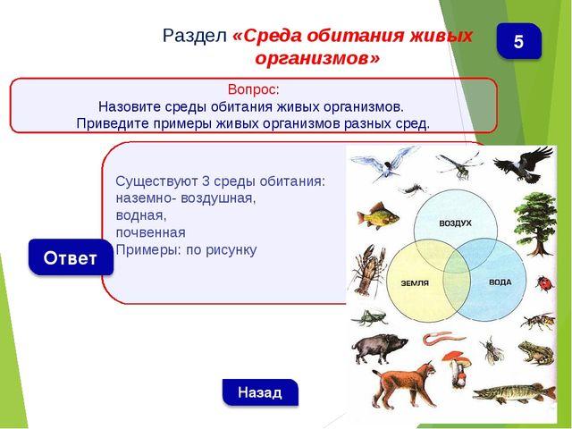 Существуют 3 среды обитания: наземно- воздушная, водная, почвенная Примеры: п...