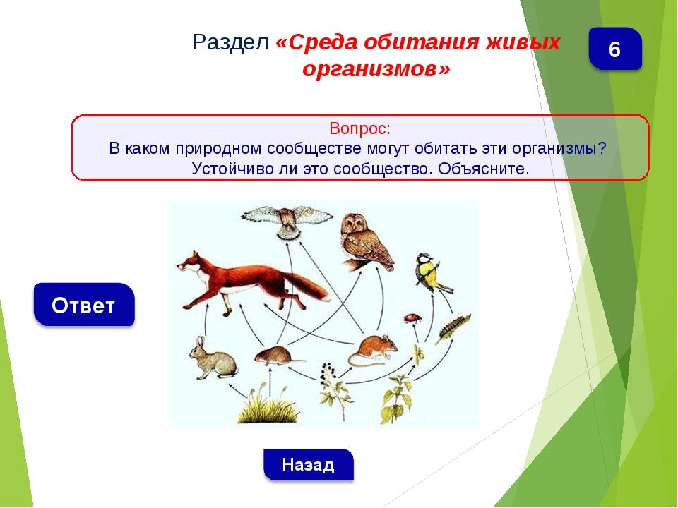 Раздел «Среда обитания живых организмов» Вопрос: В каком природном сообществе...