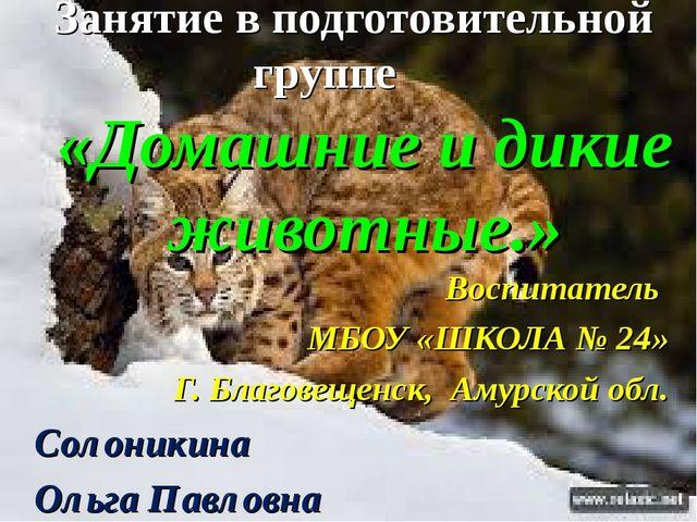 Занятие в подготовительной группе «Домашние и дикие животные.» Воспитатель МБ...