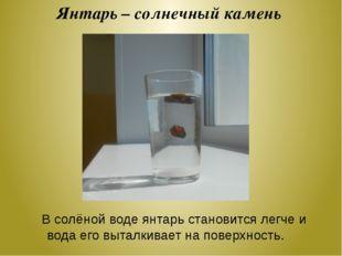 Янтарь – солнечный камень В солёной воде янтарь становится легче и вода его в