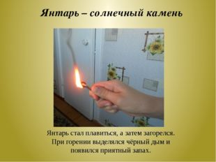 Янтарь – солнечный камень Янтарь стал плавиться, а затем загорелся. При горен