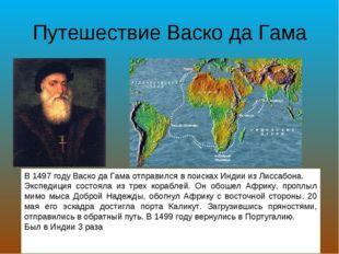 Путешествие Васко да Гама В 1497 году Васко да Гама отправился в поисках Инди