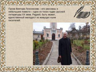 Проза Виктора Лихоносова – его рассказы и небольшие повести – одно из тихих ч