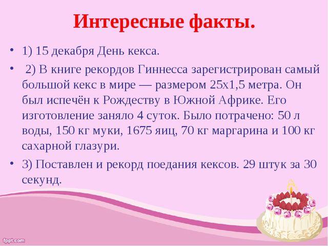 Интересные факты. 1) 15 декабря День кекса. 2) В книге рекордов Гиннесса заре...