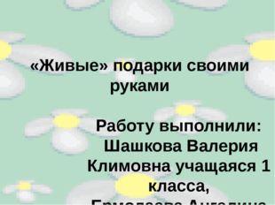 «Живые» подарки своими руками Работу выполнили: Шашкова Валерия Климовна учащ