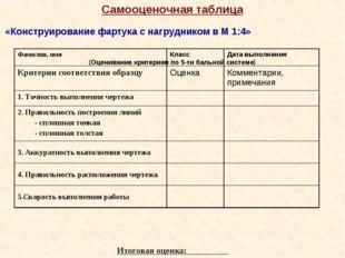 Самооценочная таблица «Конструирование фартука с нагрудником в М 1:4» (Оценив