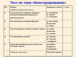 Тест по теме «Конструирование» №Вопрос Выбрать правильный ответ Варианты от