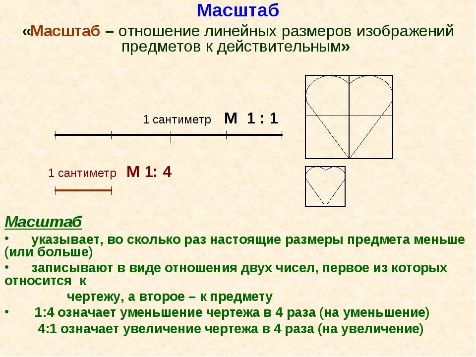 Масштаб «Масштаб – отношение линейных размеров изображений предметов к действ...