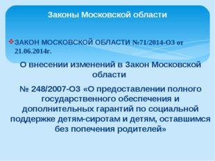 ЗАКОН МОСКОВСКОЙ ОБЛАСТИ №71/2014-ОЗ от 21.06.2014г. О внесении изменений в З