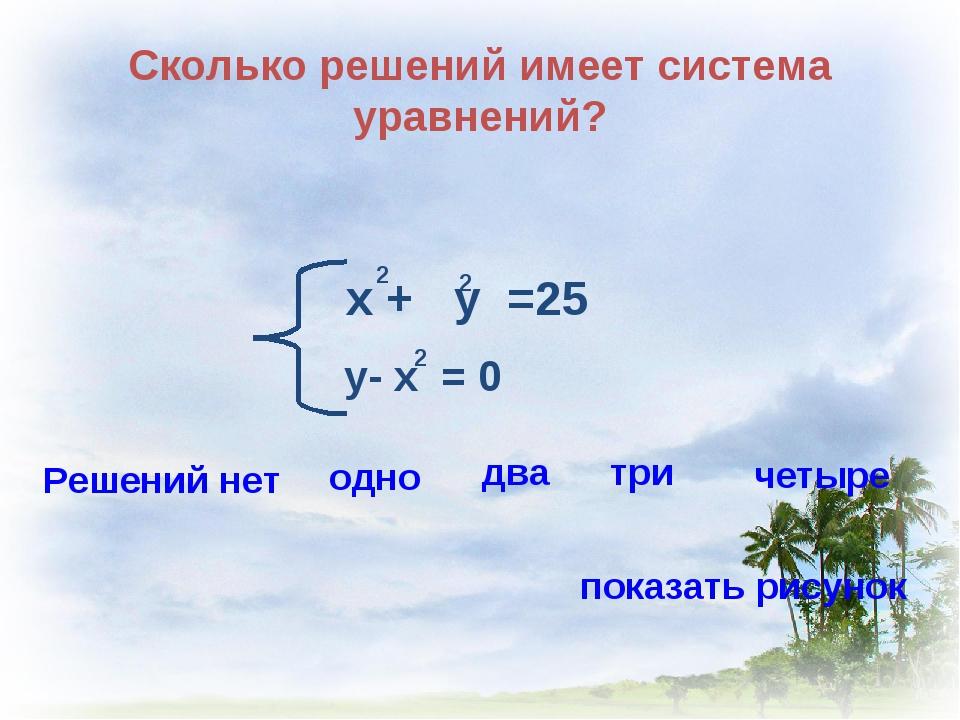 Сколько решений имеет система уравнений? х + у =25 2 2 у- х = 0 2 Решений нет...