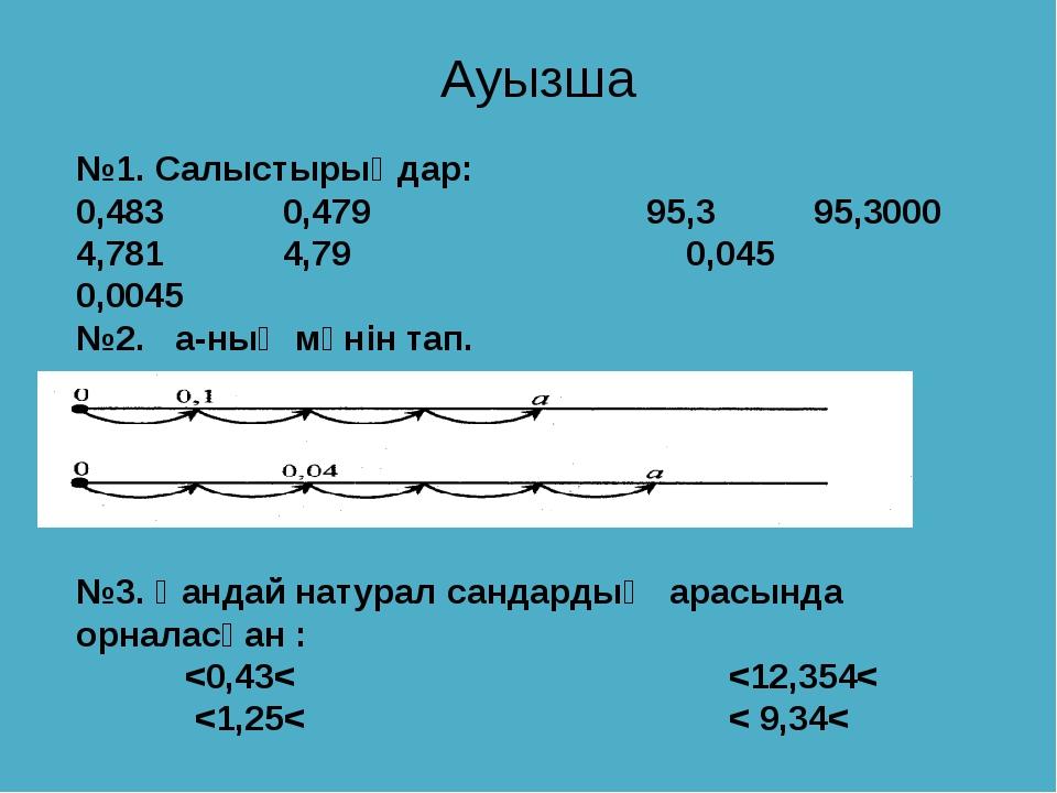 №1. Салыстырыңдар: 0,483 0,479 95,3 95,3000 4,781 4,79 0,045 0,0045 №2. а-ның...