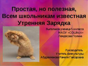 Выполнила ученица 5 а класса МАОУ «СОШ№20» Лемдясова Полина Руководитель Учит