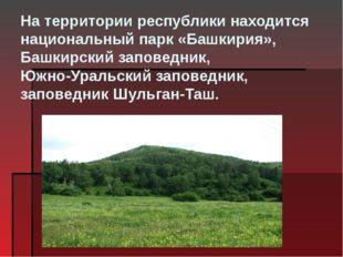 На территории республики находится национальный парк«Башкирия», Башкирский з