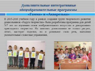 Дополнительные интегративные общеобразовательные программы «Гамма» и «Акварел