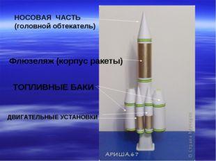 НОСОВАЯ ЧАСТЬ (головной обтекатель) Флюзеляж (корпус ракеты) ТОПЛИВНЫЕ БАКИ Д