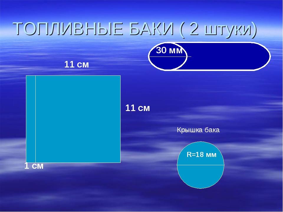 ТОПЛИВНЫЕ БАКИ ( 2 штуки) 11 см 11 см 1 см 30 мм Крышка бака R=18 мм