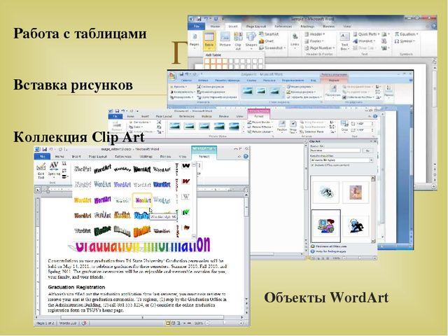 Объекты WordArt Глава 2 Работа с таблицами Вставка рисунков Коллекция Clip Ar...