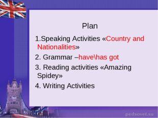 Plan 1.Speaking Activities «Country and Nationalities» 2. Grammar –have\has