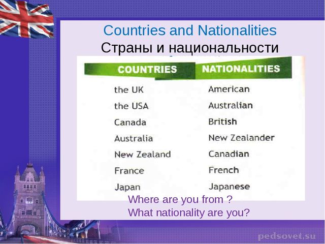 Countries and Nationalities Страны и национальности Where are you from ? What...