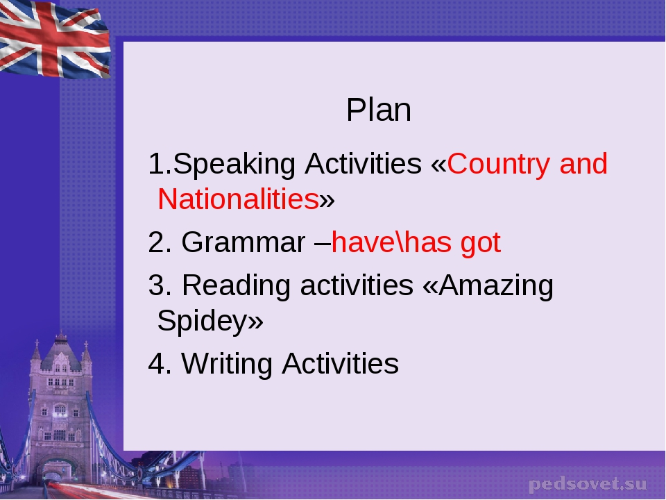 Plan 1.Speaking Activities «Country and Nationalities» 2. Grammar –have\has...