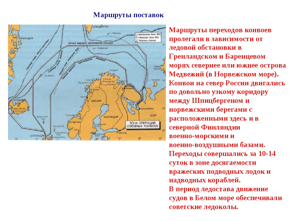 Маршруты поставок Маршруты переходов конвоев пролегали в зависимости от ледо...