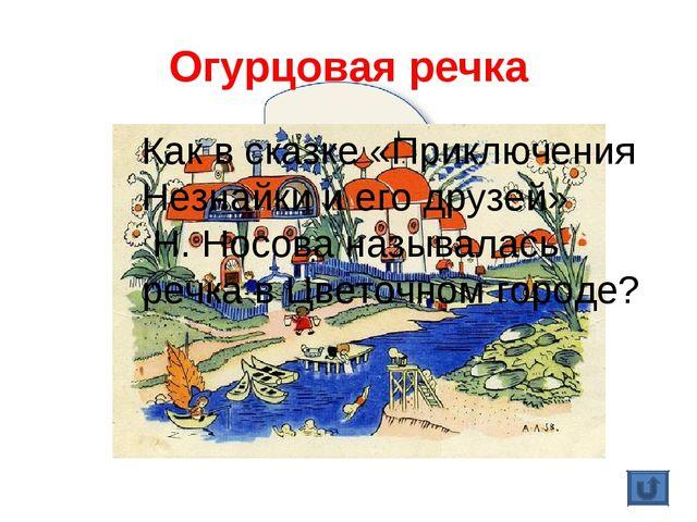 Огурцовая речка Как в сказке «Приключения Незнайки и его друзей» Н. Носова на...