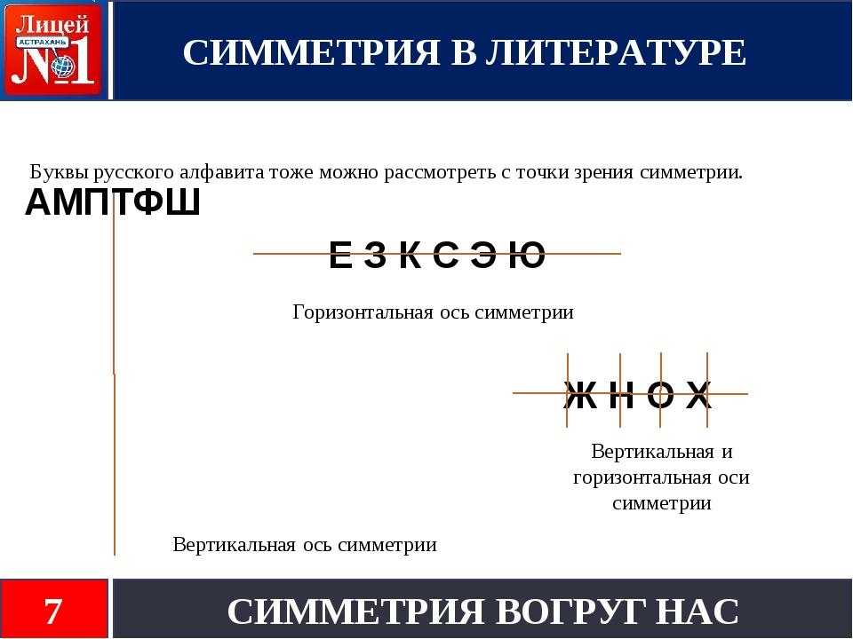 Буквы русского алфавита тоже можно рассмотреть с точки зрения симметрии. АМПТ...