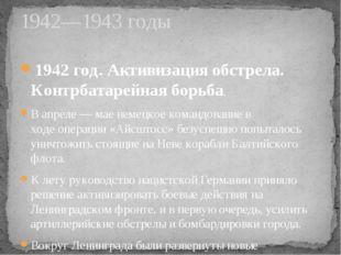1942 год. Активизация обстрела. Контрбатарейная борьба. В апреле— мае немецк