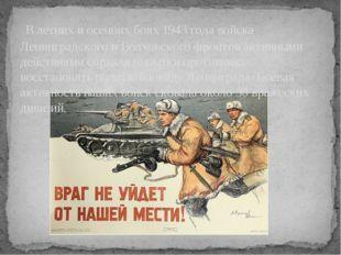 В летних и осенних боях 1943 года войска Ленинградского и Волховского фронто
