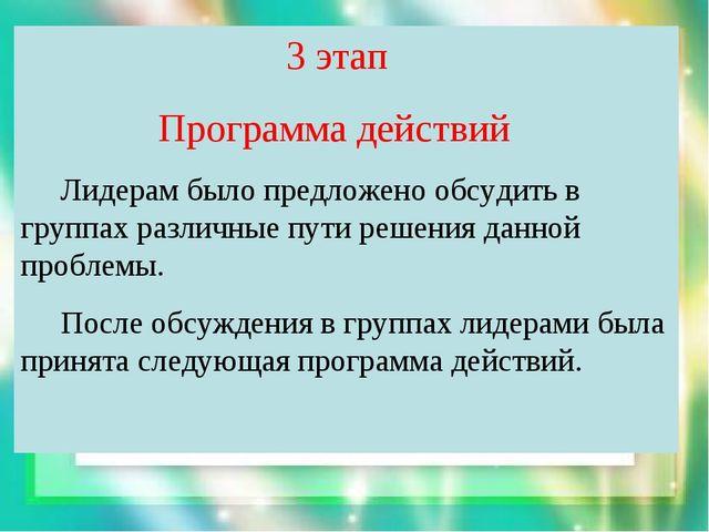 3 этап Программа действий Лидерам было предложено обсудить в группах различн...