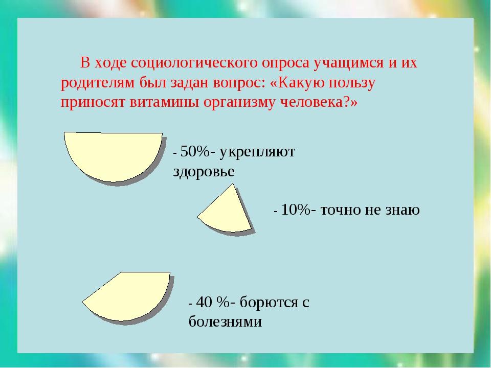 В ходе социологического опроса учащимся и их родителям был задан вопрос: «Ка...