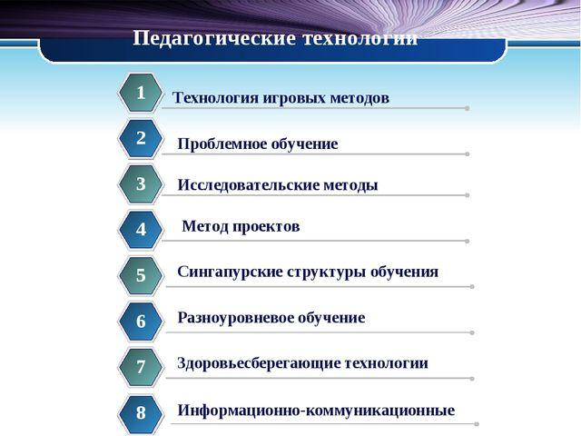 Педагогические технологии 1 Проблемное обучение 2 Исследовательские методы 3...