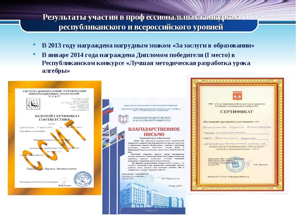 Результаты участия в профессиональных конкурсах республиканского и всероссийс...