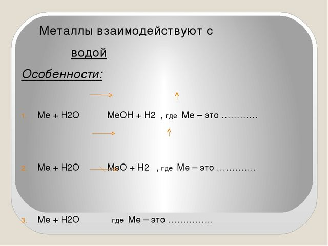 Металлы взаимодействуют с водой Особенности: Ме + Н2О МеОН + Н2 , где Ме – э...