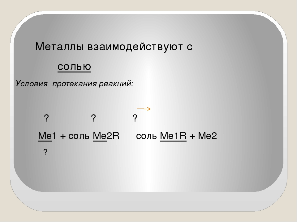 Металлы взаимодействуют с солью Условия протекания реакций: ? ? ? Ме1 + соль...